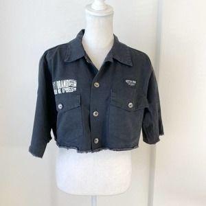 LF Black Cropped Button Down Cargo Shirt Sz M
